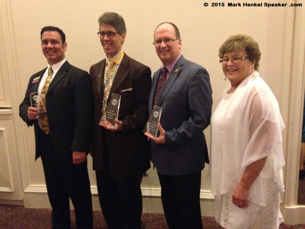 Mark Henkel (3rd) - Joe Grondin (1st) - Dan Bell (2nd) - Patricia MacNevin (District Governor) - District 45 Spring Conference - May 15-17 2015 - 1000x750