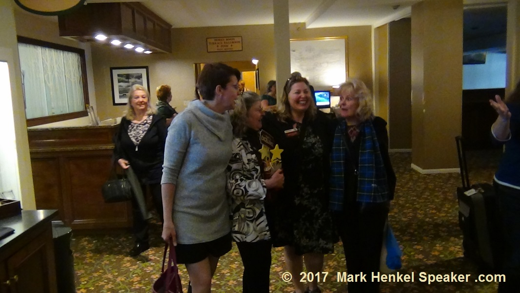 D45 Fall Conference 2017 - Deb Steeves from Canada poses with the New Hampshire ladies, Sue Francesco, Angi Francesco, and Candice Buell.