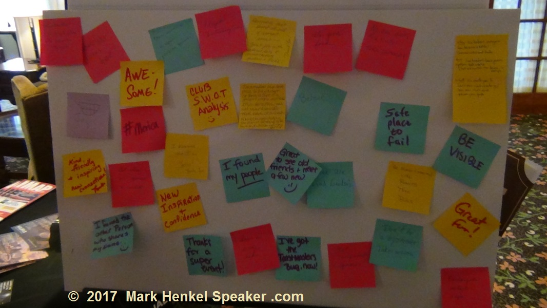 """The """"Thought Takeaway """" Board - what Toastmasters said they got out of the D45 Fall Conference 2017"""