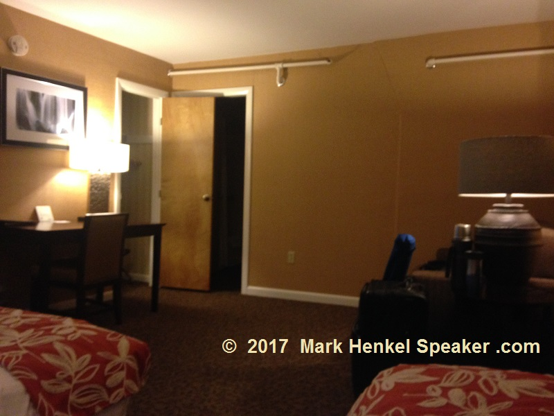 Lake Morey Resort – Fairlee, VT – Room - View from beds toward additional couched room, closet, and huge bathroom