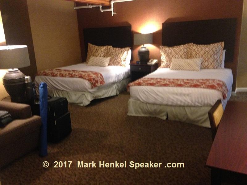 Lake Morey Resort – Fairlee, VT – Room - View of beds from bathroom door