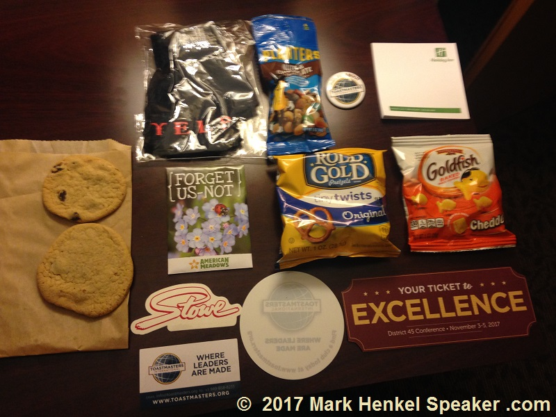 Goodies in the Swag Bag of the D45 Toastmasters Fall Conference 2017