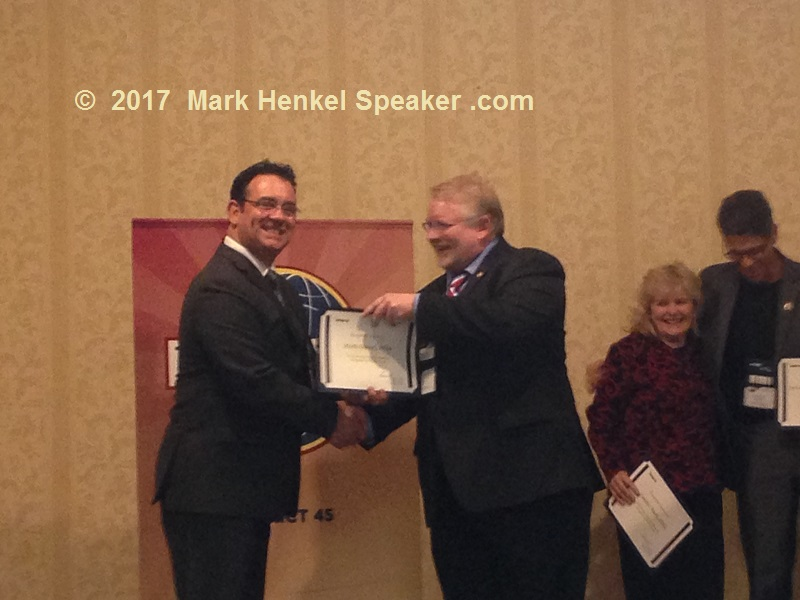 D45 Fall Conference 2017 Awards Ceremony - along with fellow award recipients, Candice Buell & Joe Grondin, the D45 Program Quality Director Jeff Hebert (center-right) gives award to Mark Henkel (left) for sponsoring 5+ members
