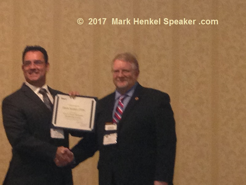 D45 Fall Conference - Program Quality rJeff Hebert (right) awards Mark Henkel (left) with the Allen E Seavey Award