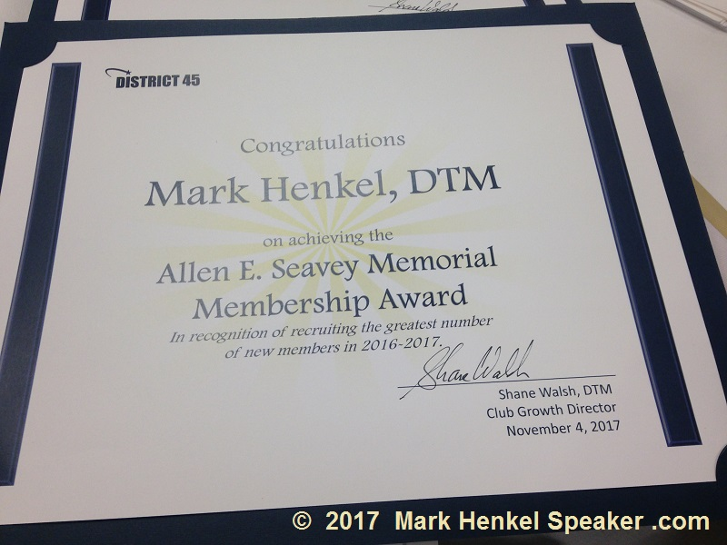 D45 Toastmasters 2017 Allen E Seavey award for sponsoring the greatest number of members in the previous year
