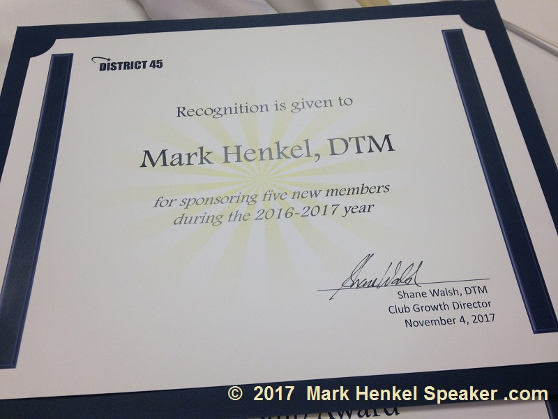 D45 Fall Conference 2017 Awards Ceremony - Award for Sponsoring 5+ new Toastmasters