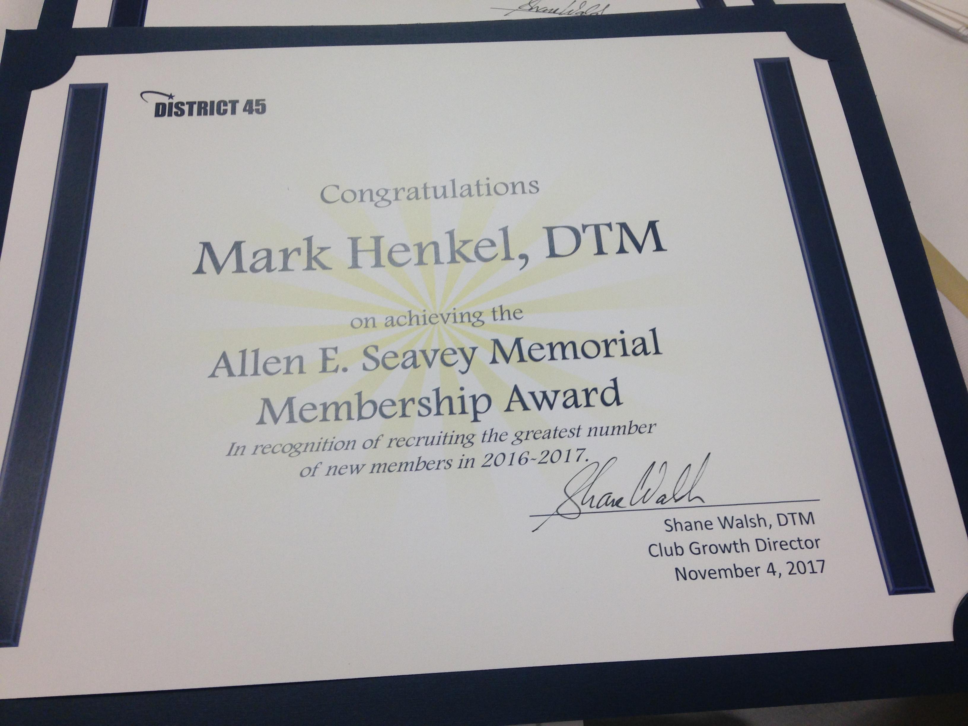 Mark Henkel – 2017 – Allen E Seavey award