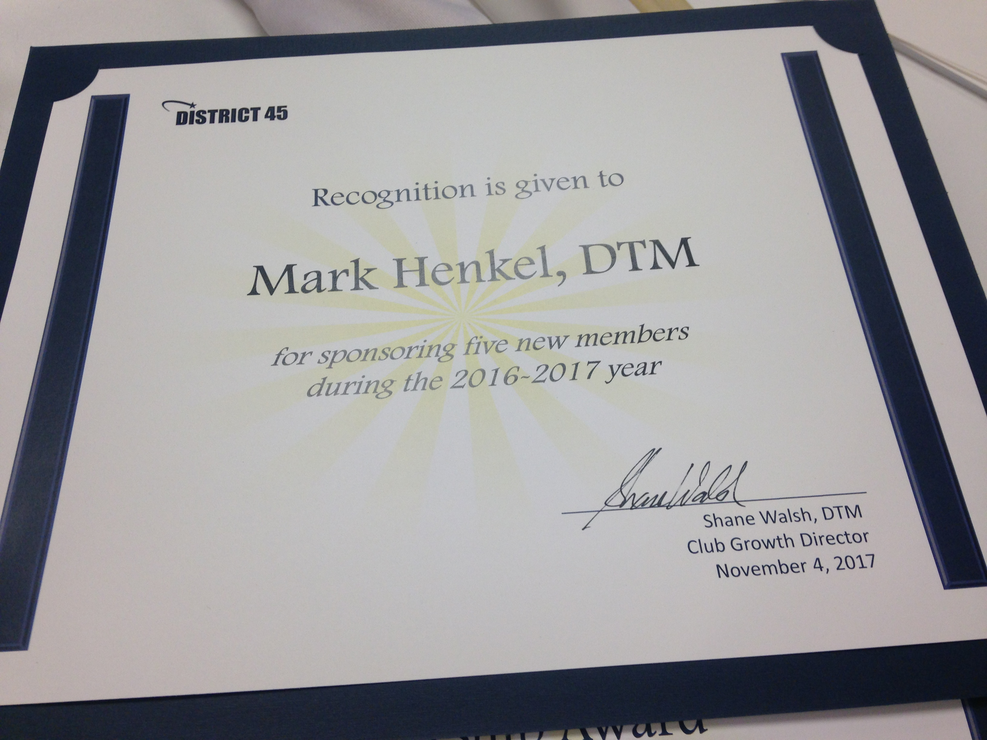 Mark Henkel – 2016 – Sponsor 5 or More award
