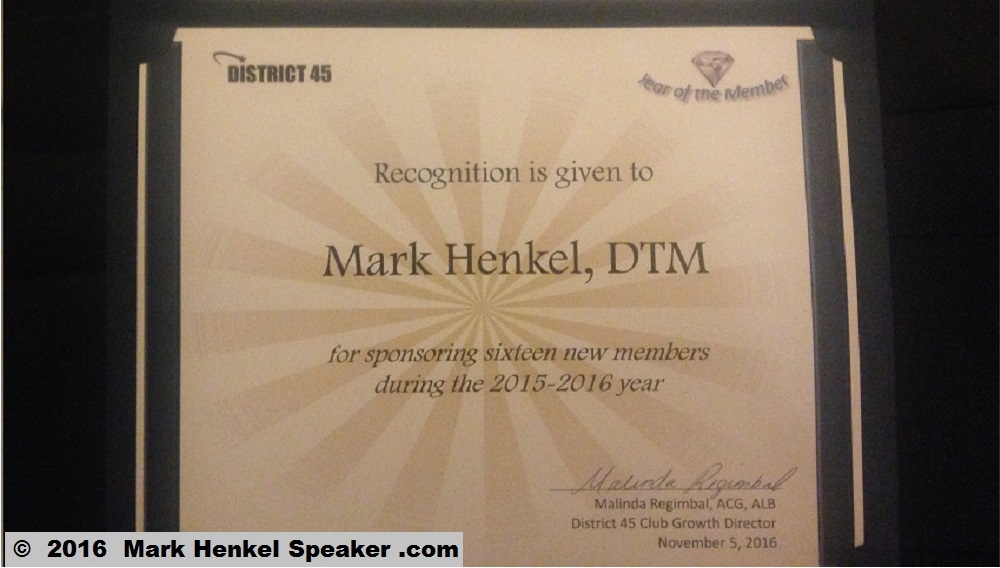 Mark Henkel - 2016 - Sponsor 5 or More award