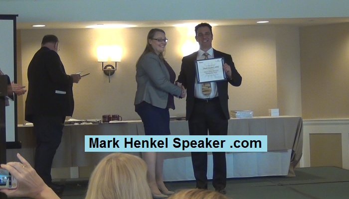 "Mark Henkel earned Distirct 45 Toastmasters' ""Allen E Seavy"" Award for sponsoring most member over previous year"