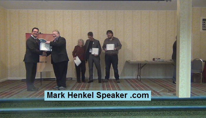 "Mark Henkel Receiving the 2017 ""Sponsor 5 or more"" Toastmasters Award"