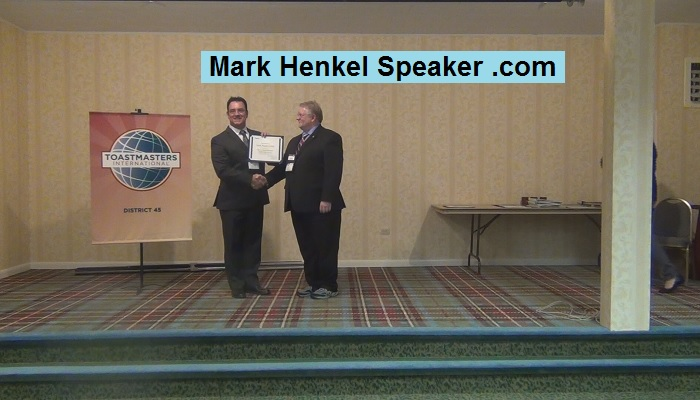 "Mark Henkel earned District 45 Toastmasters 2017 ""Allen E Seavy"" Award for sponsoring most members over previous year"