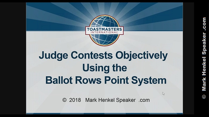 Judge Contests Objectively Using the Ballot Rows Point System
